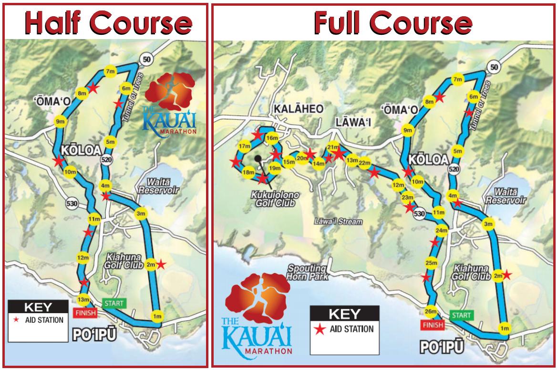 The Kauai Marathon Full and Half Course Maps