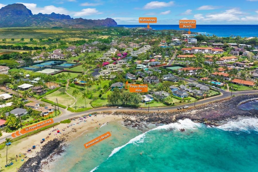 Poipu Beach Hale Kauai Shipwrecks Brenneckes Mahaulepu Beach Aerial