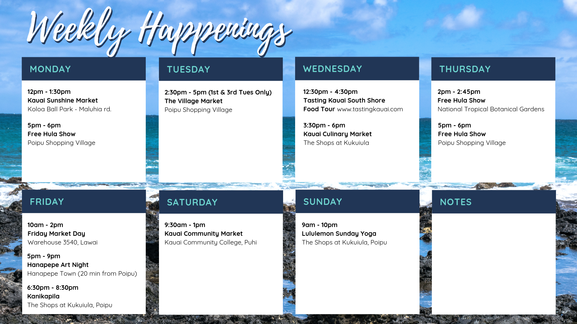 Weekly Kauai Happenings